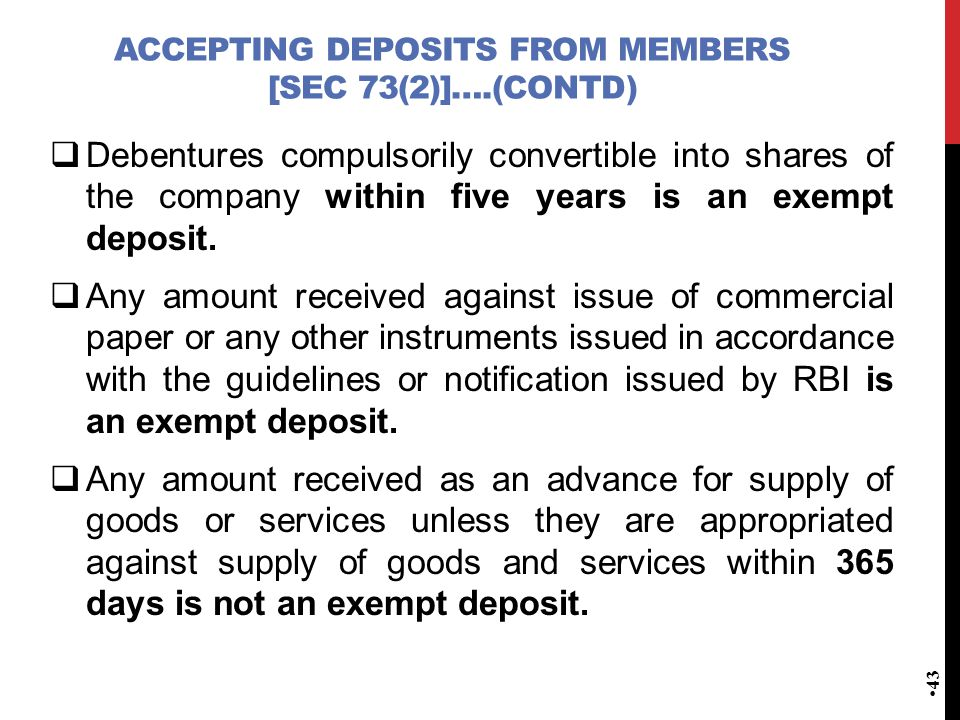 accepting deposits from members [Sec 73(2)]….(contd)